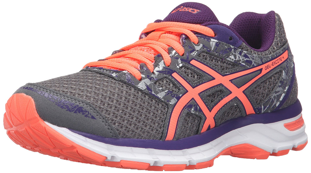 Women's Gel-Excite 4 Running Shoe- Shark/Flash Coral/Parachute Purple
