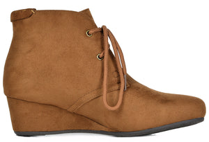 Women's Low Wedge Heel Ankle Boots- Ramona Camel