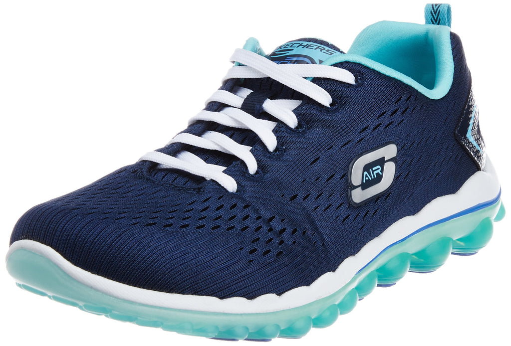 Women's Air Sneakers- Navy Mesh Light Blue Trim