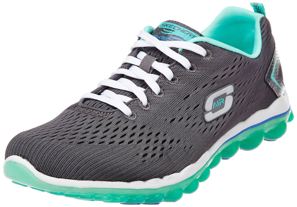 Women's Air Sneakers- Charcoal Mesh Turquoise Trim