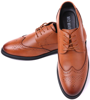 Men's Leather Formal Lace Up Wing Tip Dress Shoes- Tan