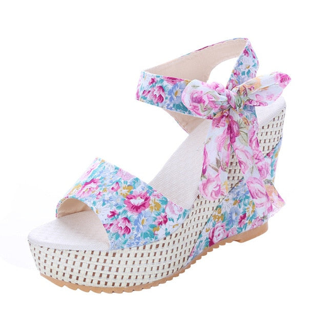 Women's fashion Summer Wedges- Platform Lace Belt Bow