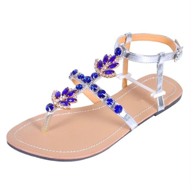 Women`s Summer Bohemia Diamond Sandals with Shining Rhinestones- T-strap