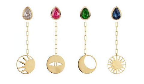 Gold Earrings with ruby, emerald and sapphire studs.