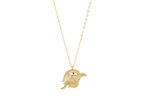 Gold Falcon talisman necklace
