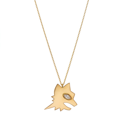 Gold She Wolf Talisman Necklace Gazza Ladra