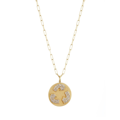 Gold recycle symbol necklace Recycled diamonds