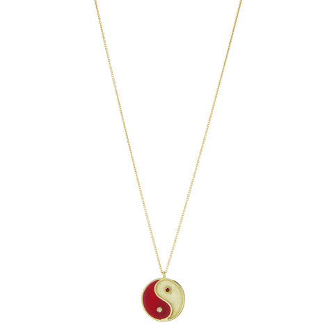 Gold Yin and Yang Talisman necklace with red enamel