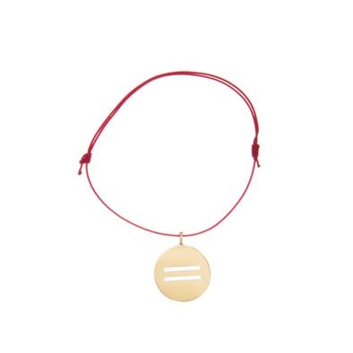 Handcrafted gold equal pendant with red Japanese leather bracelet.