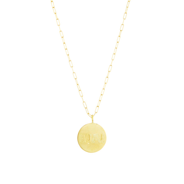 Handmade simple gold necklace with white diamonds set in center.