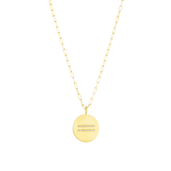 Handmade 18k gold necklace with white diamonds set in center with equal sign