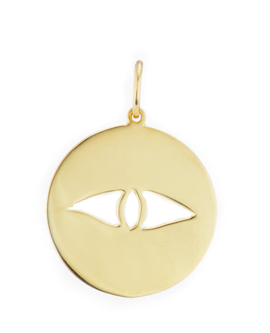 Eye Charm Pendant Casual gold pendant handmade in nyc