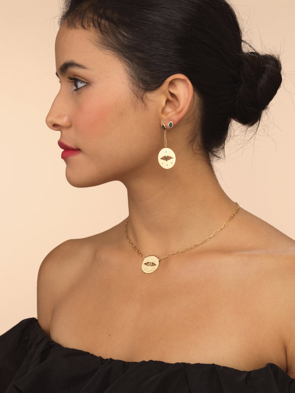 Model wearing Blue Sapphire Stud earrings