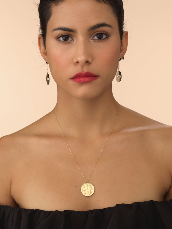 Model wearing breathe diamond and enamel necklace