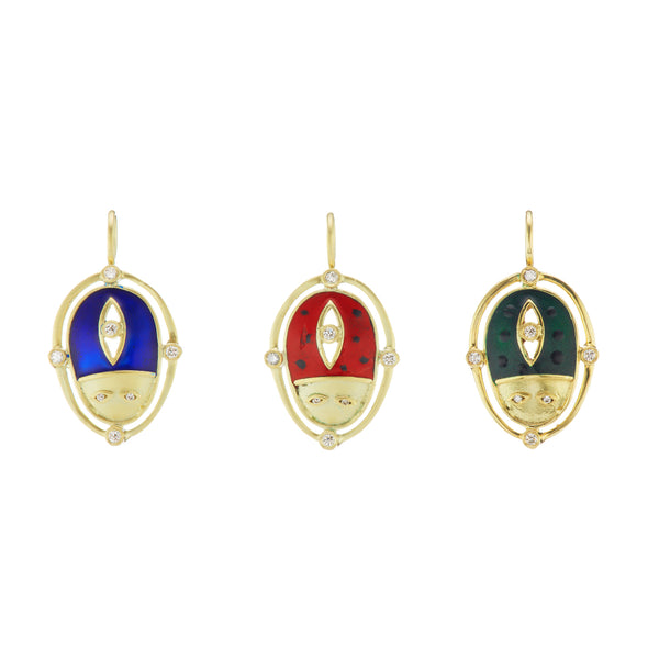 Series of beetle pendants in god with blue, red and green enamel.