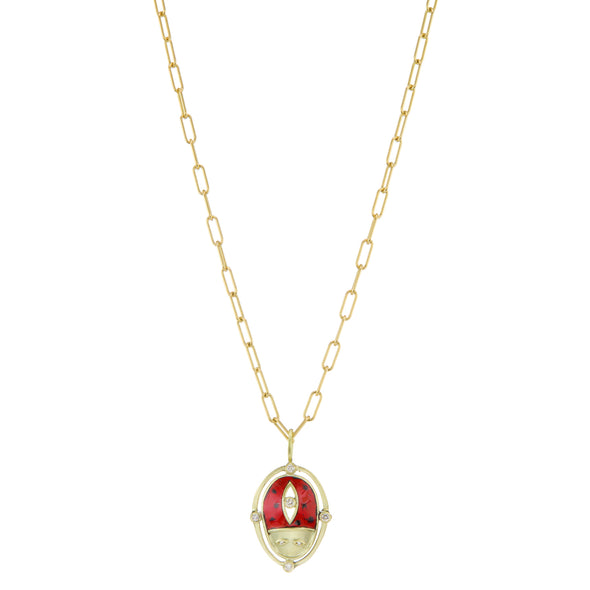 Lady Luck Necklace Gold beetle necklace set with diamonds and red enamel with gold chain necklace.