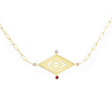 Less is More handmade gold necklace with equal sign in pendant and diamond and ruby detailing.