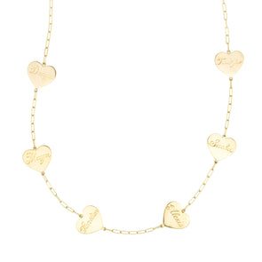Handmade gold necklace with multiple gold charm hearts