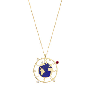 Respect Earth necklace with blue enamel earth, gold chain and set with ruby and diamonds.
