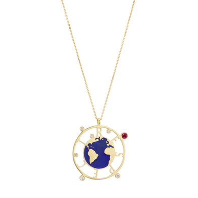 Respect necklace with blue enamel earth, gold chain and set with ruby and diamonds.