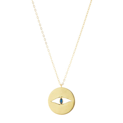Gold protective eye necklace with blue sapphire stone.