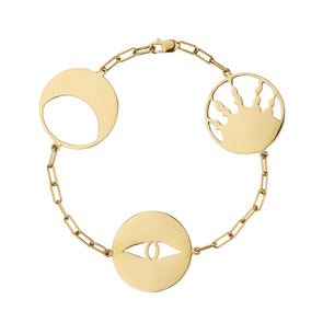 Handmade gold bracelet with three symbolic charms