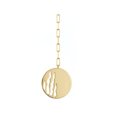 14k gold earring with half flame cutout design