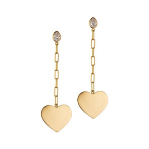 Handmade gold earrings with heart shaped pendant and white diamond stud