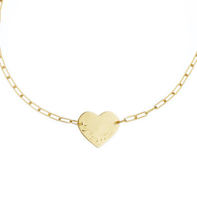 Handmade yellow gold necklace with heart symbol pendant