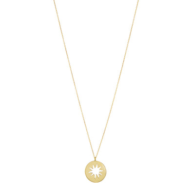 Small gold necklace with sunbeam design.