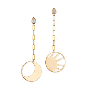 Handmade gold  sun and moon earrings