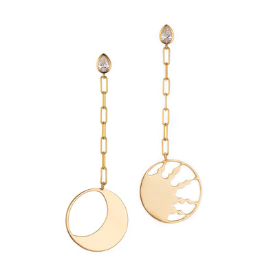 Handmade gold earrings with sunbeam and moon earrings with white diamond studs.