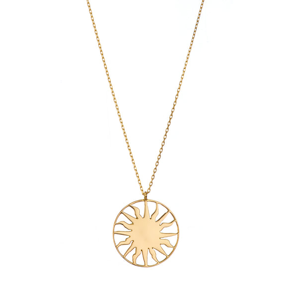 Gold chain necklace with roman sun inspired pendant.