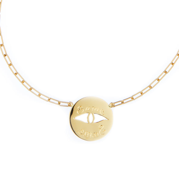 Handmade gold necklace with gold symbol charm eye and inscription