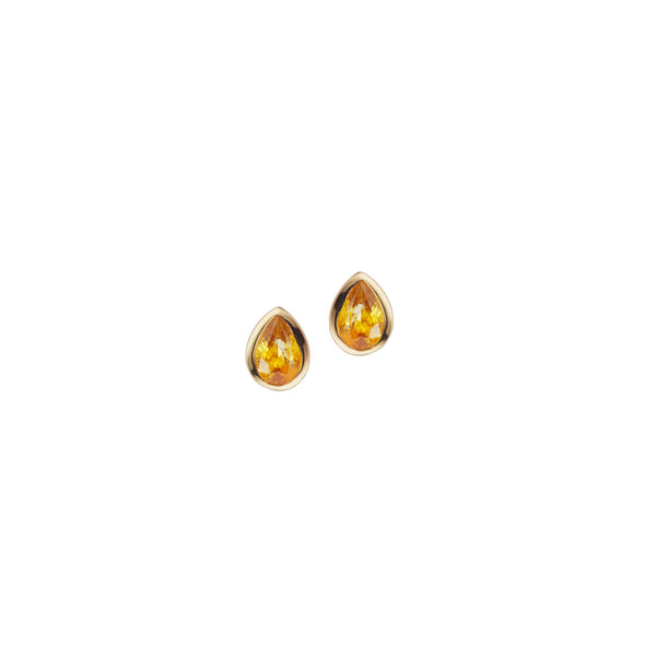 Handmade gold earrings with yellow sapphires.
