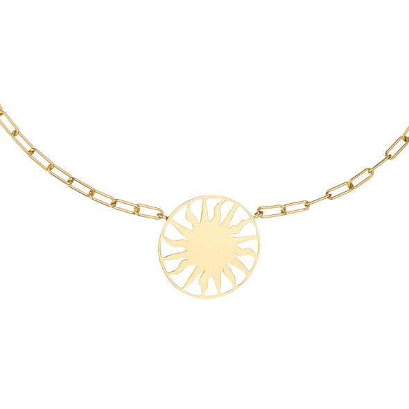 Gold chain necklace with roman sun pendant.