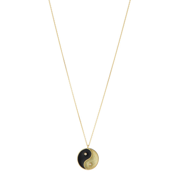 Yin + Yang Gold and Enamel Necklace