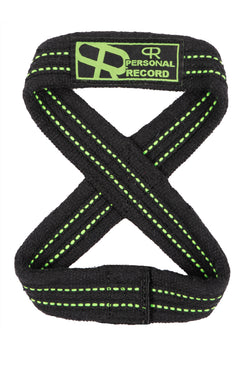 Personal Record Heavy Duty Premium 8 Figure Lifting Straps - PR909 - Black/Neon