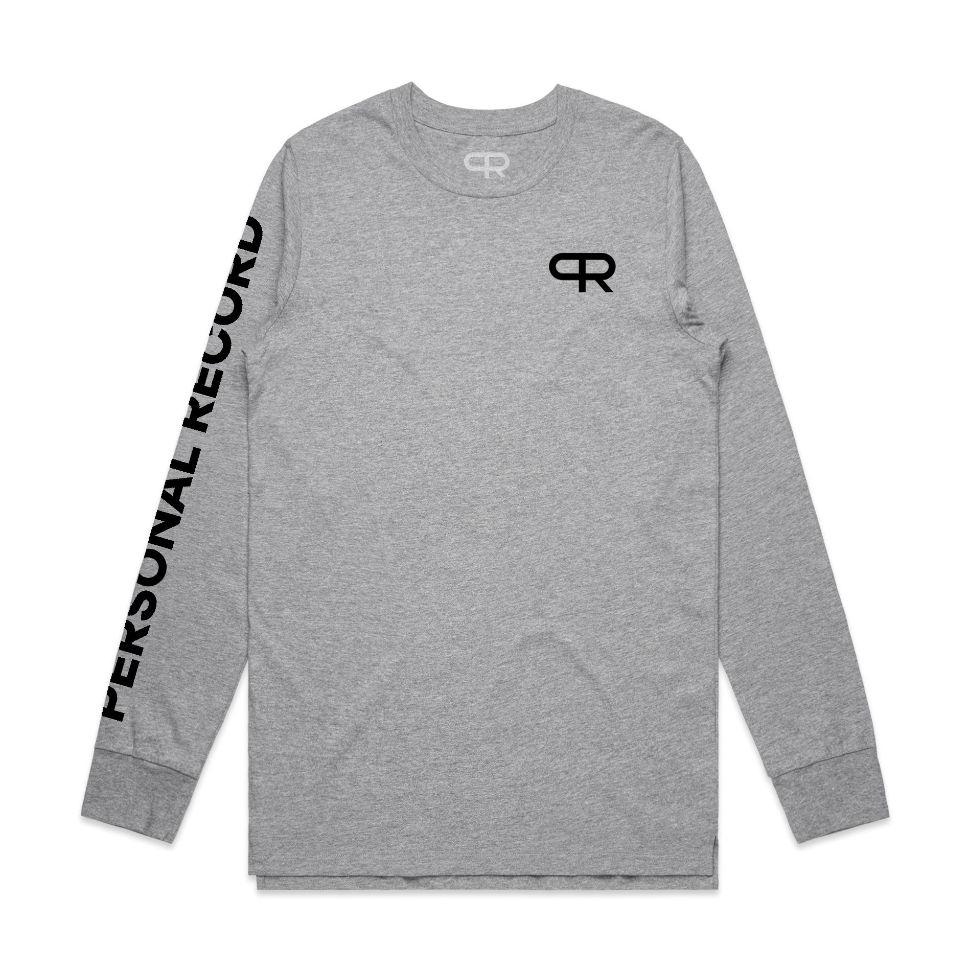 PR Long Sleeve with Sleeve Print-PR410- Heather Grey