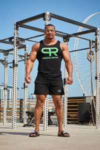 PR Neon Tank Tops - PR311- Black/Green