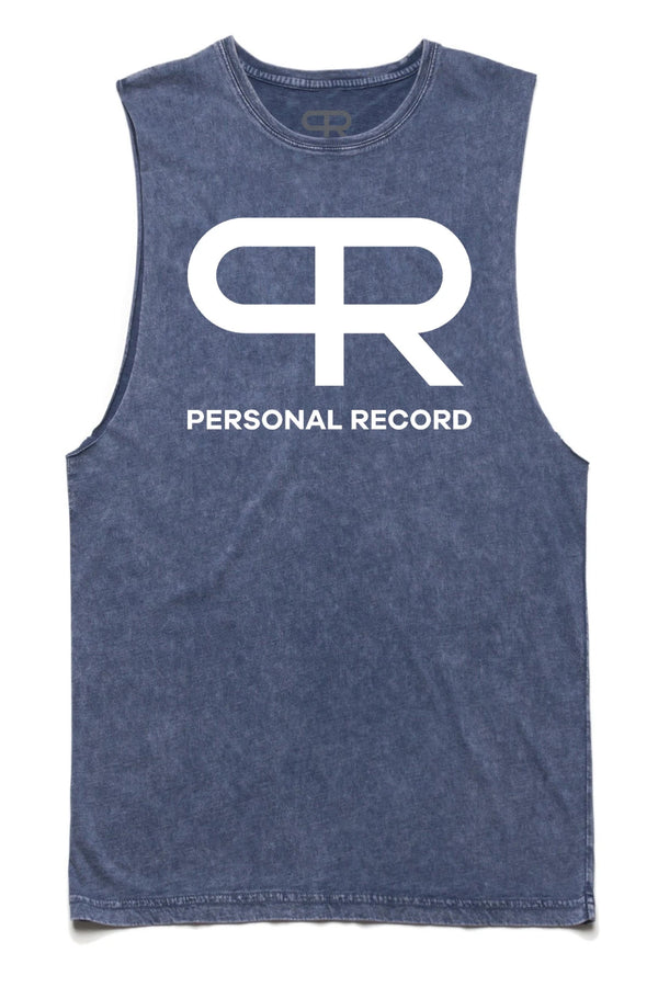 Personal Record Cut-off Tank-PR301- Blue Stone