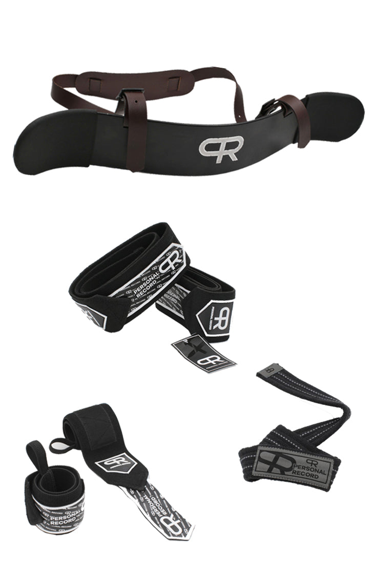 PR Accessories Bundle (Arm Blaster, Elbow Wraps, Wrist Wraps, Lifting Straps)- Black