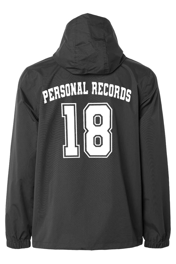 Personal Record 18 Anorak Windbreaker Jacket- Black