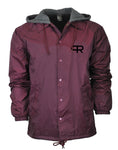 PR Fleece Hoodie Windbreaker Jacket- Burgundy