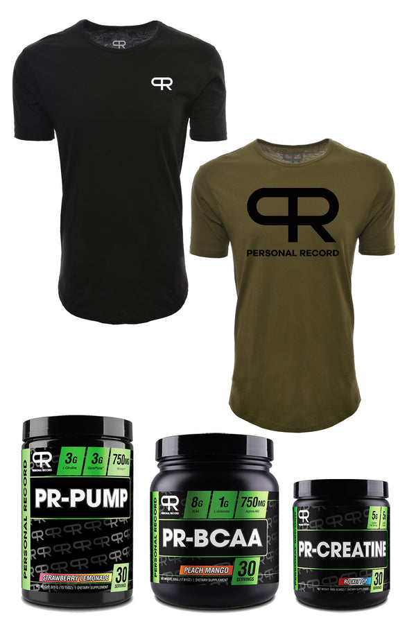 Personal Record Starter Kit BUNDLE (PR401 Elongated T-Shirt- Olive, PR403 Elongated T-Shirt- Black, BCAA, PUMP, and CREATINE SUPPS)- 5 Items