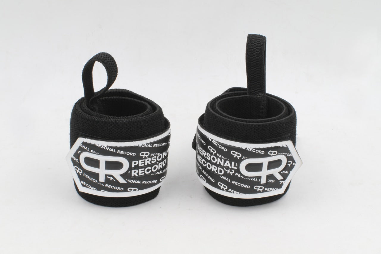 Personal Record Heavy Duty Premium Wrist Wraps PR901 - Black/White