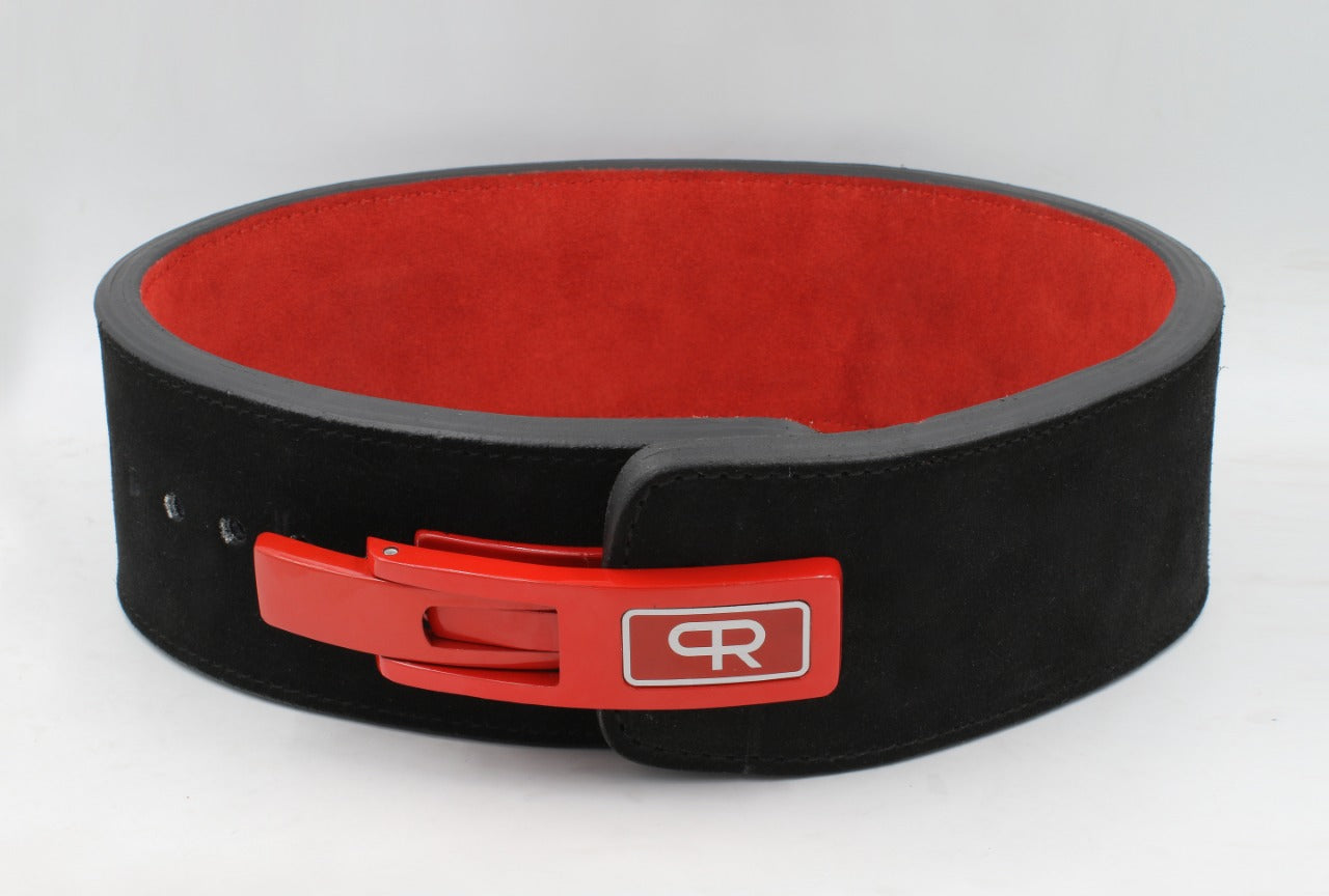 PR Powerlifting 13mm Belt w/ Lever Buckle - Black/Red