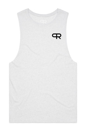 PR Basic Logo Cut-off Tank-PR302- White Heather