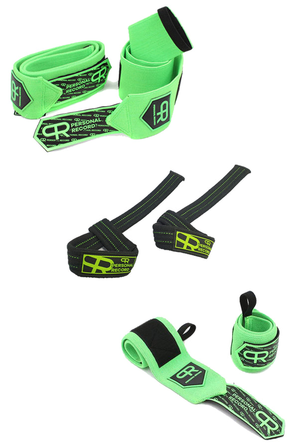 PR Neon Arm Day Bundle - Neon (Wrist Wraps, Elbow Wraps, and Lifting Straps)