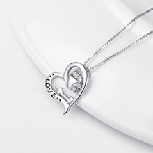 925 silver paw print love necklace